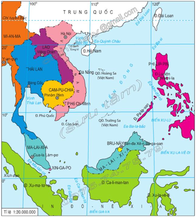 Hình 24.1.Lược đồ khu vực Biển Đông, lớp 8