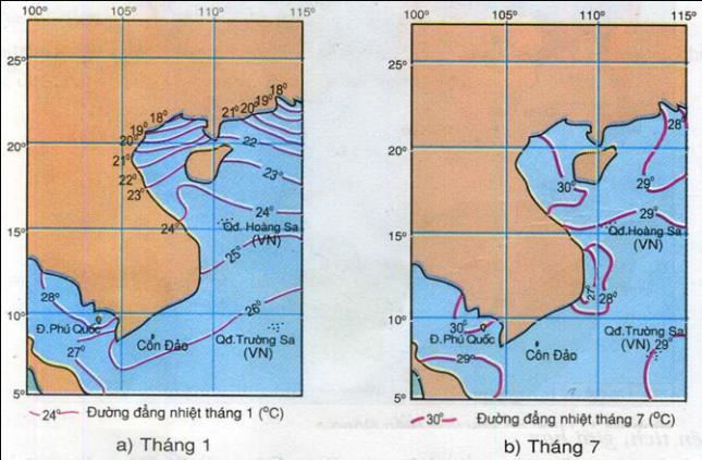 Hình 24.2.Lược đồ phân bố nhiệt độ nước biển tầng mặt, lớp 8