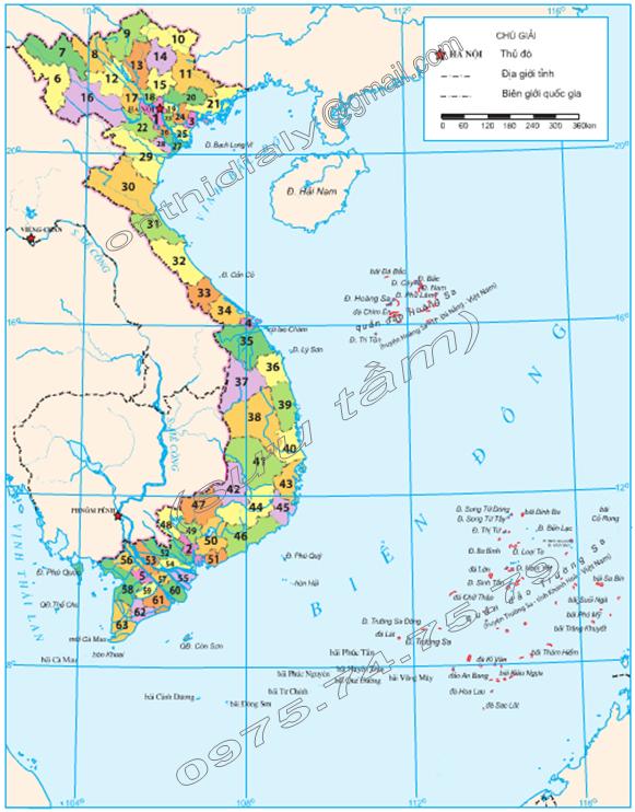 Hinh 23.2. Bản đồ hành chính Việt Nam, lop 8