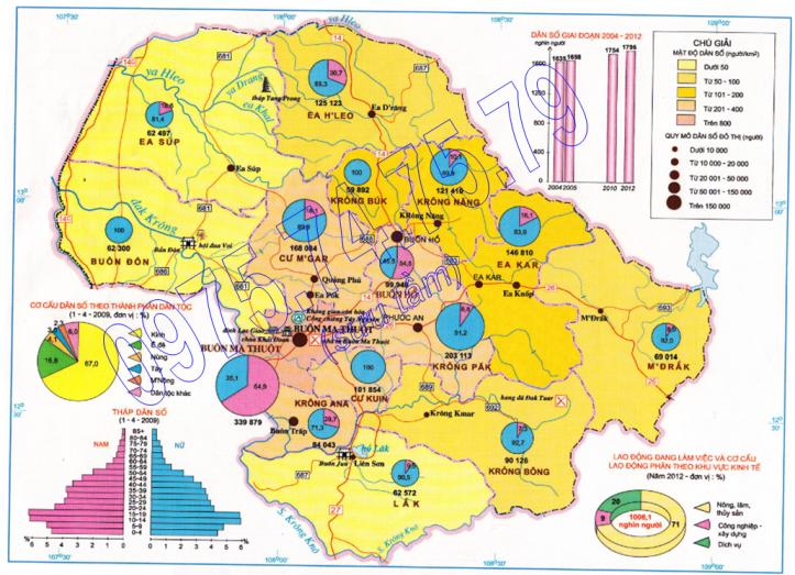 Bản đồ Dân cư tỉnh Đăk Lăk