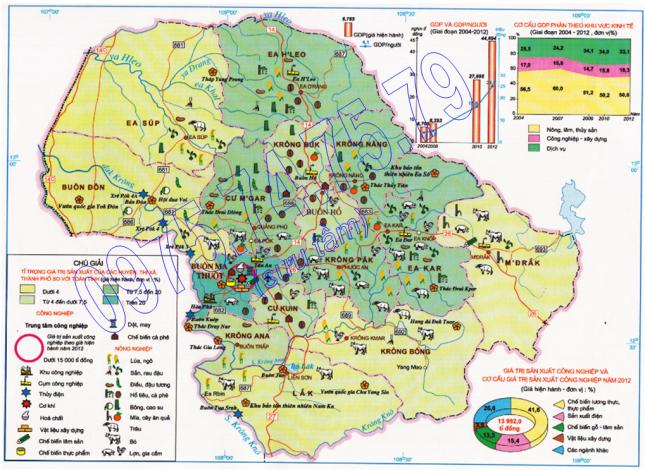 Bản đồ Kinh tế tỉnh Đăk Lăk