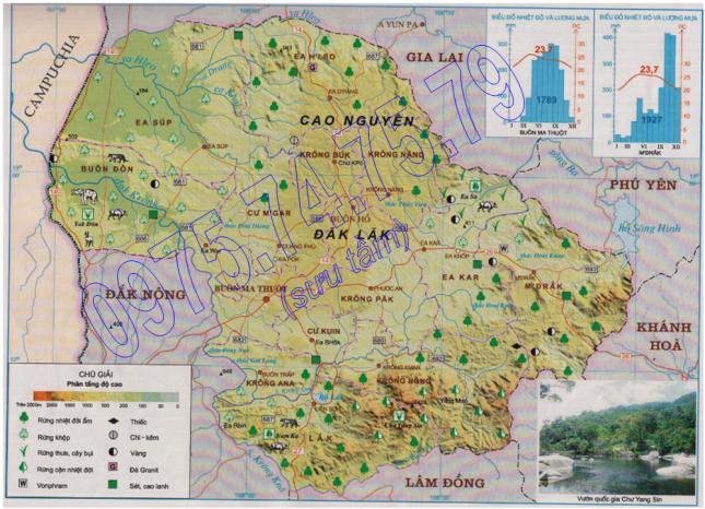 Bản đồ Tự nhiên tỉnh Đăk Lăk
