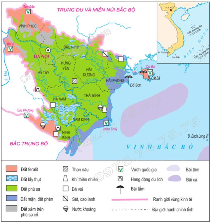 Hình 20.1. Lược đồ tự nhiên vùng Đồng bằng sông Hồng, lop 9