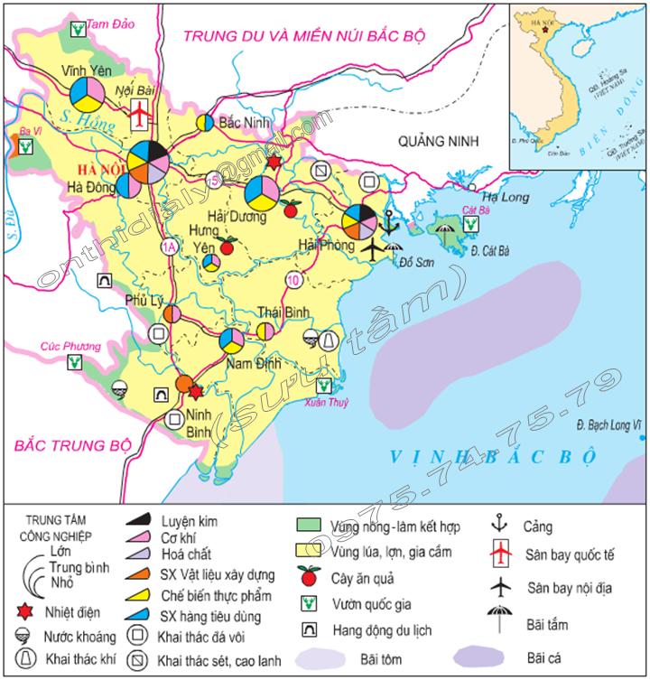 Hình 21.2. Lược đồ kinh tế Đồng bằng sông Hồng, lop 9