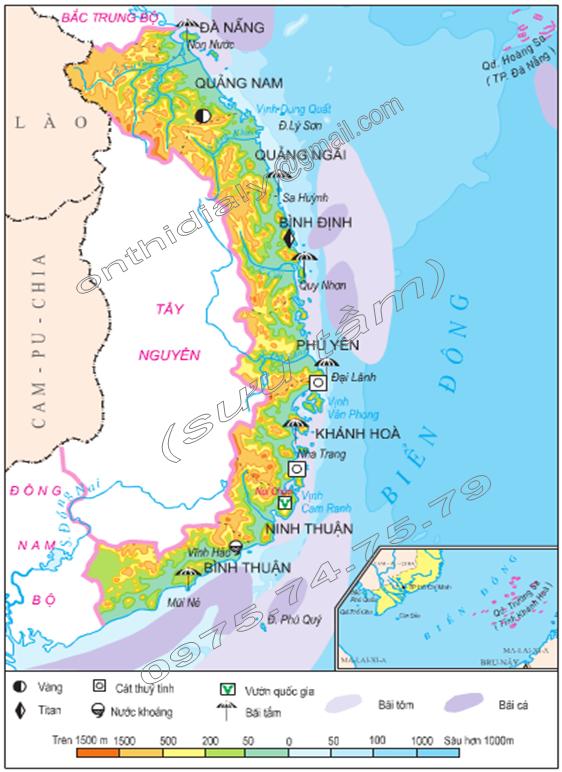 Hình 25.1. Lược đồ tự nhiên vùng Duyên hải Nam Trung Bộ, lop 9