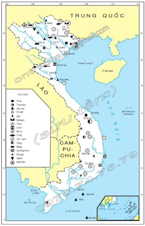 Hình 26.1. Lược đồ khoáng sản Việt Nam, lớp 8