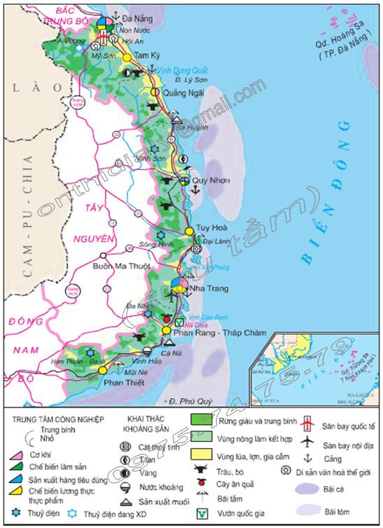 Hình 26.1. Lược đồ kinh tế vùng Duyên hải Nam Trung Bộ, lop 9