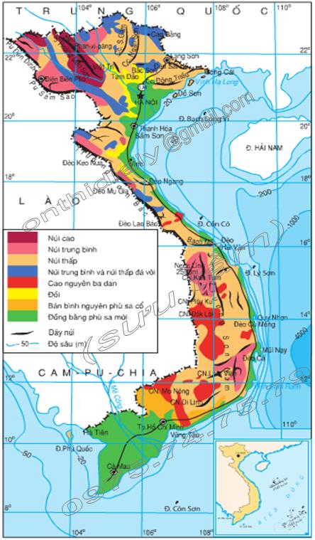 Hình 28.1. Lược đồ địa hình Việt Nam, lớp 8