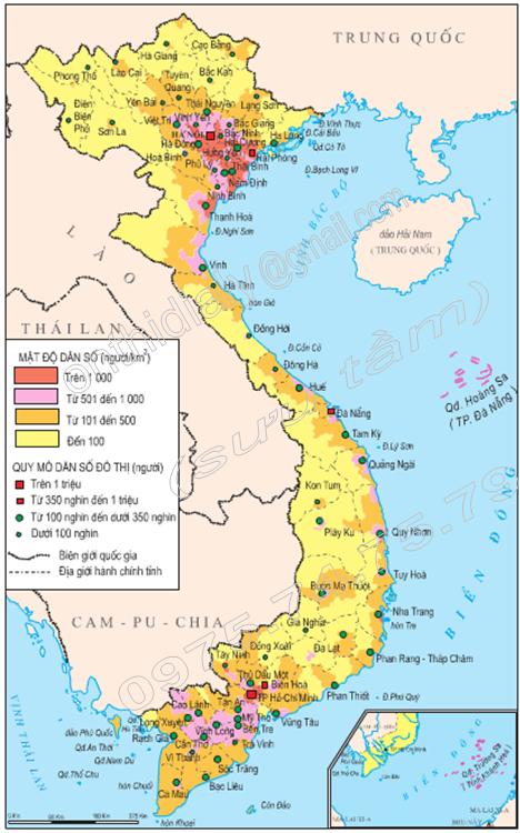 Hình 3.1. Lược đồ phân bố dân cư và đô thị Việt Nam, năm 1999, lop 9