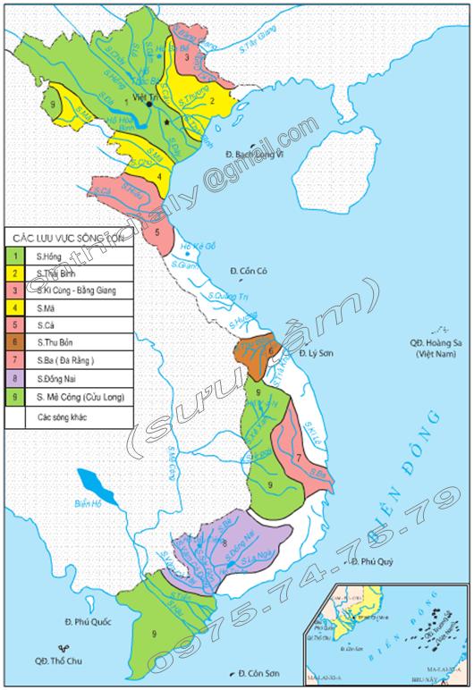 Hình 33.1. Lược đồ các hệ thống sông lớn ở Việt Nam, lớp 8