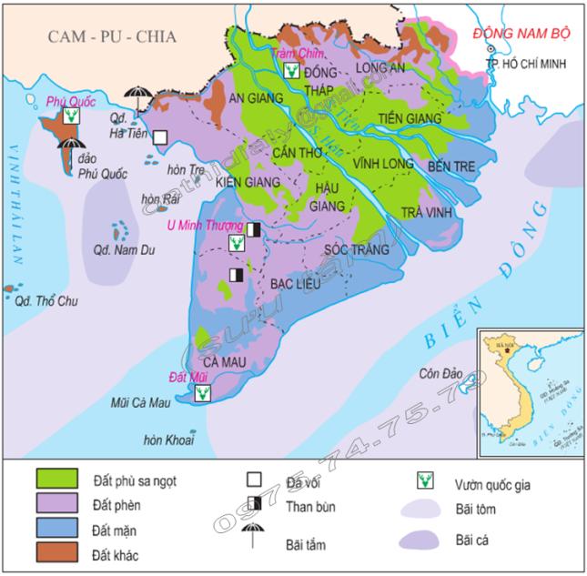 Hình 35.1. Lược đồ tự nhiên vùng Đồng bằng sông Cửu Long, lop 9