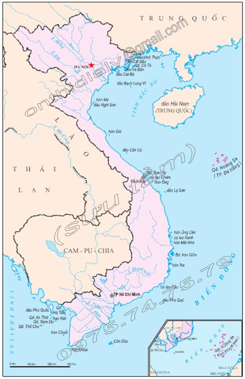 Hình 38.2. Lược đồ một số đảo và quần đảo Việt Nam, lop 9