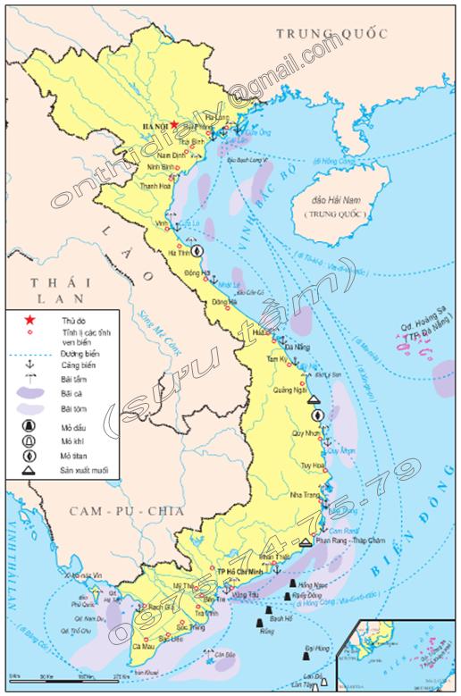 Hình 39.2. Lược đồ tiềm năng một số ngành kinh tế biển, lop 9