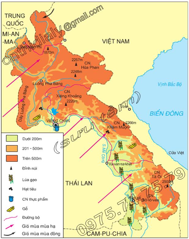 Hinh 18.2. Lược đồ tự nhiên, kinh tế Lào