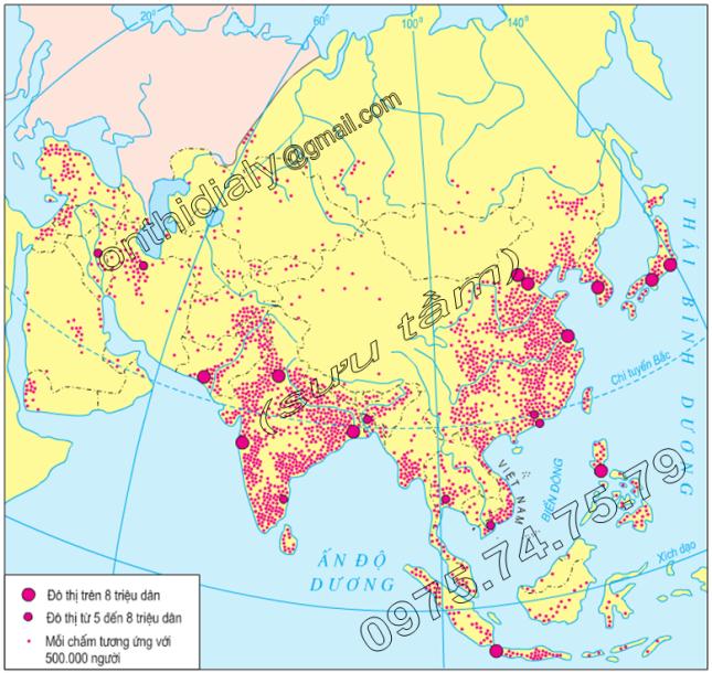 Hinh 2.4. Phân bố dân cư châu Á