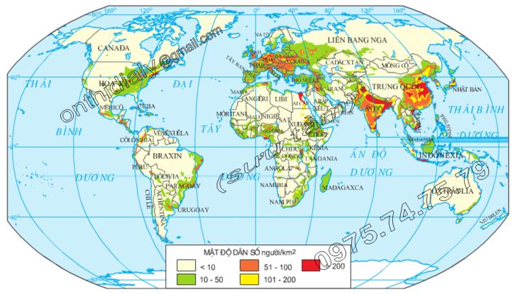 Hinh 25. Phân bố dân cư thế giới, năm 2000
