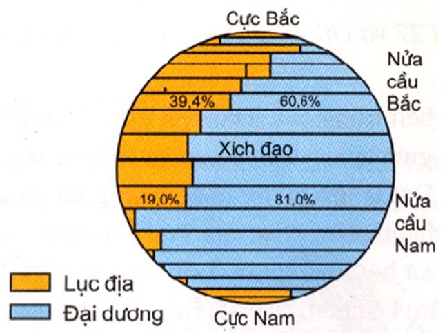 Hinh 28. Tỉ lệ diện tích lục địa và đại dương ở các nửa cầu Bắc và Nam