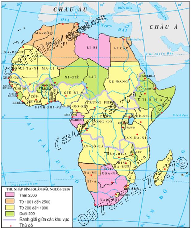 Hinh 34.1. Lược đồ thu nhập bình quân đầu người của các nước châu Phi (năm 2000)