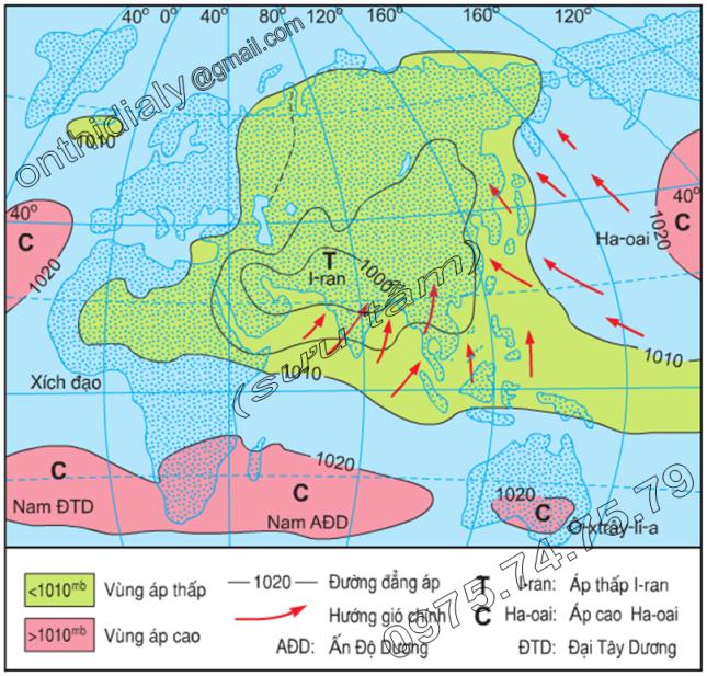 Hinh 4.2. Lược đồ phân bố khí áp và các hướng gió chính về mùa hạ (tháng 7) ở khu vực khí hậu gió mùa châu Á