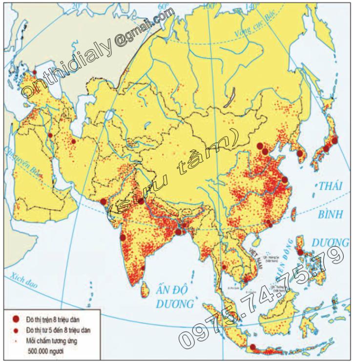 Hinh 4.4. Lược đồ phân bố dân cư châu Á
