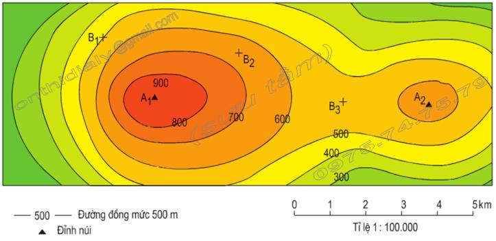 Hinh 44. Lược đồ địa hình tỉ lệ lớn