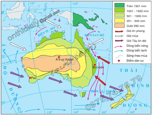 Hinh 50.2. Lược đồ hướng gió và sự phân bố lượng mưa ở lục địa Ô-xtrây-li-a và các đảo lân cận