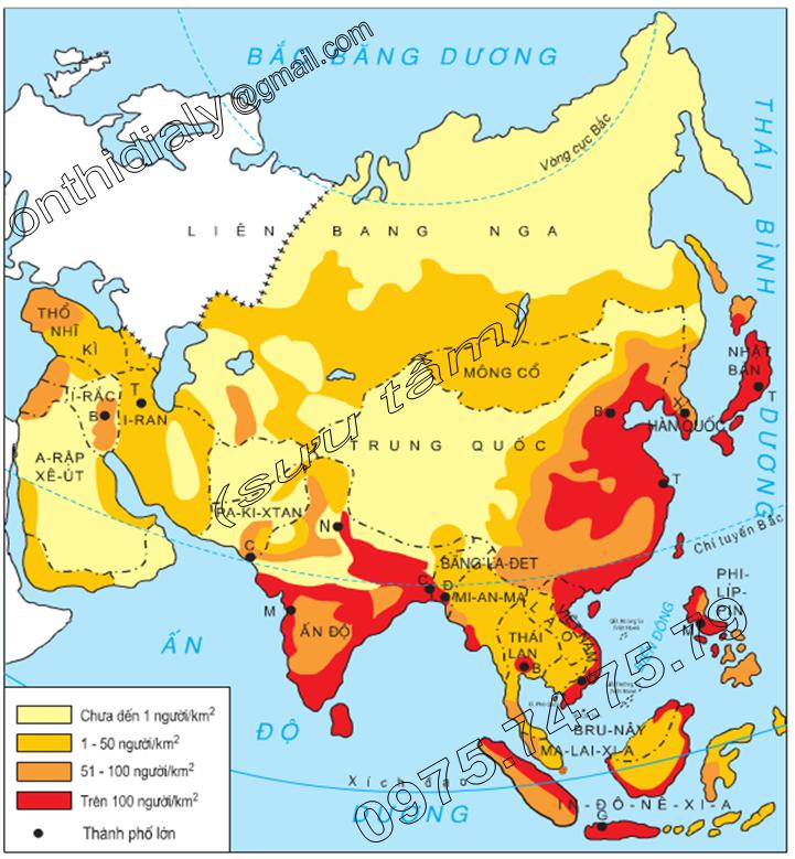 Hinh 6.1. Lược đồ mật độ dân số và những thành phố lớn châu Á