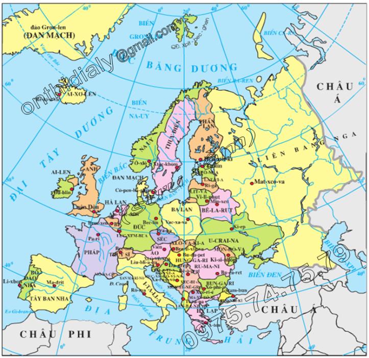 Hinh 61.1. Lược đồ các nước châu Âu
