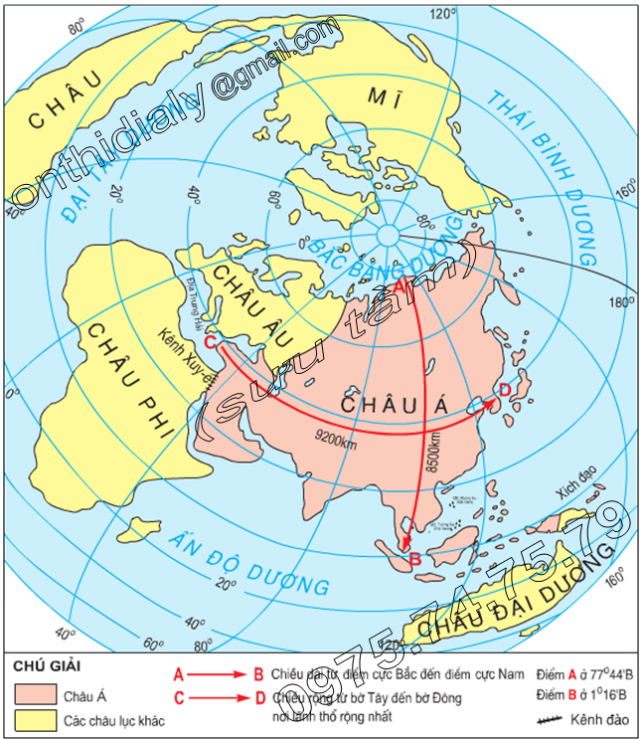 Hinh 1.1. Lược đồ vị trí địa lí châu Á trên Địa Cầu