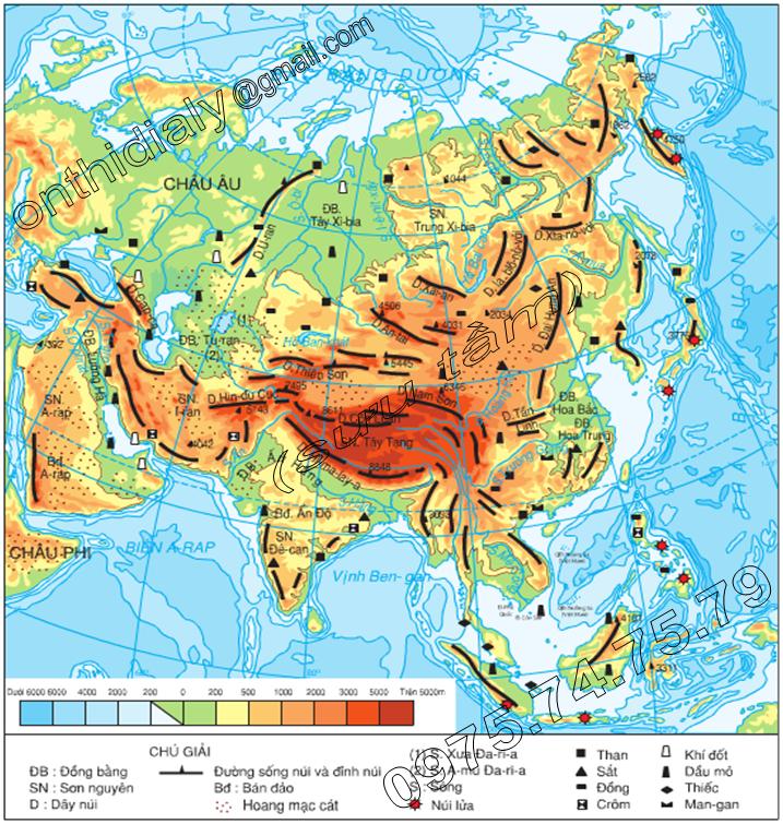 Hinh 1.2. Lược đồ địa hình, khoáng sản và sông hồ châu Á