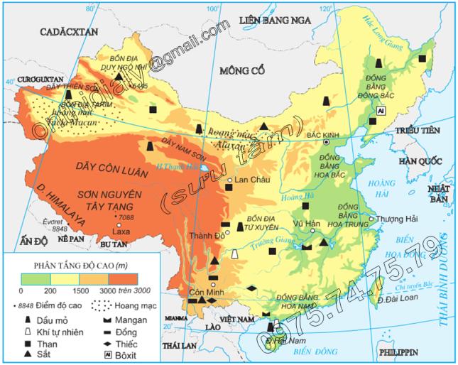 Hinh 10.1. Địa hình và khoáng sản Trung Quốc