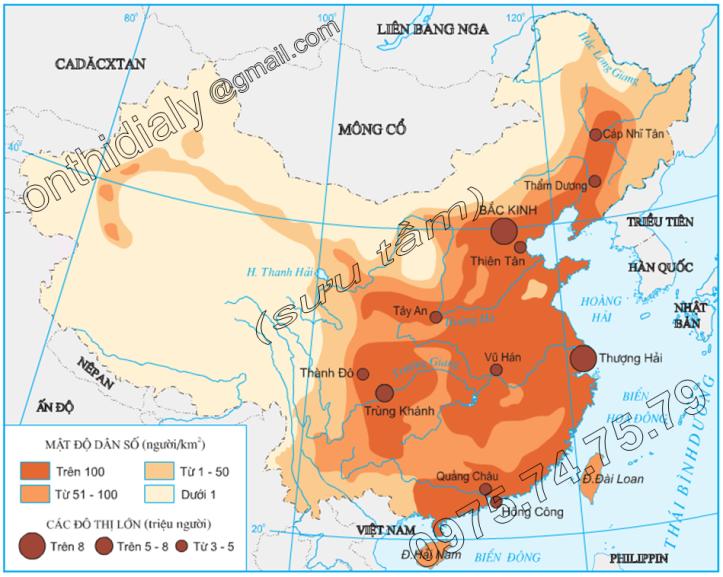 Hinh 10.4. Phân bố dân cư Trung Quốc
