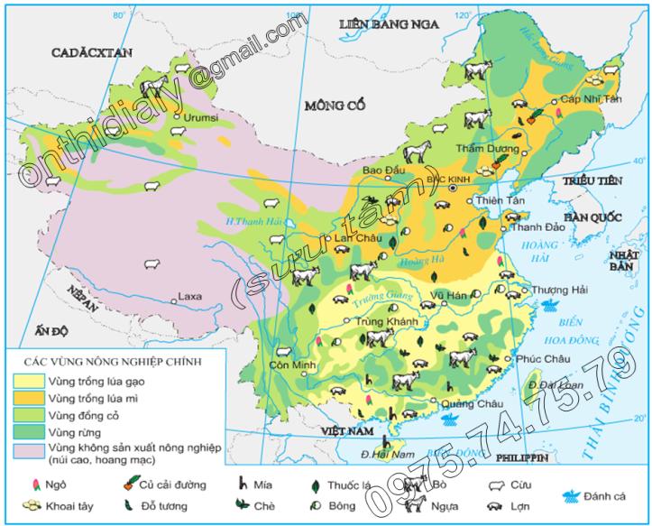 Hinh 10.9. Phân bố sản xuất nông nghiệp của Trung Quốc