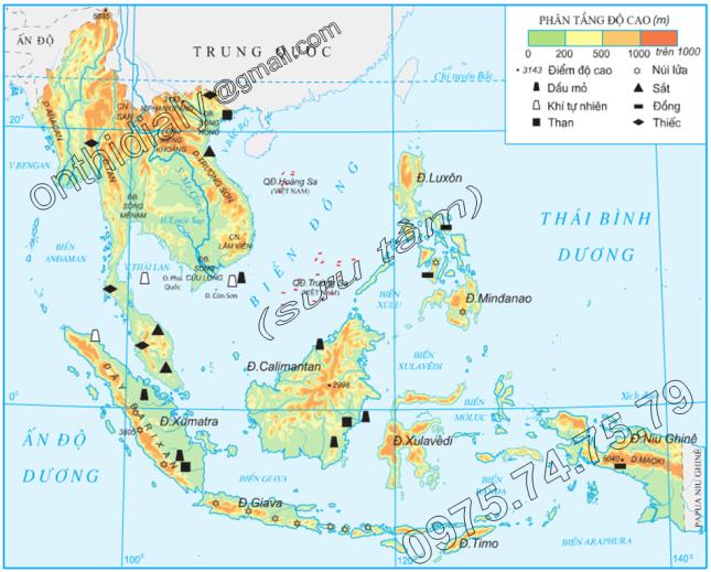 Hinh 11.1. Địa hình và khoáng sản Đông Nam Á