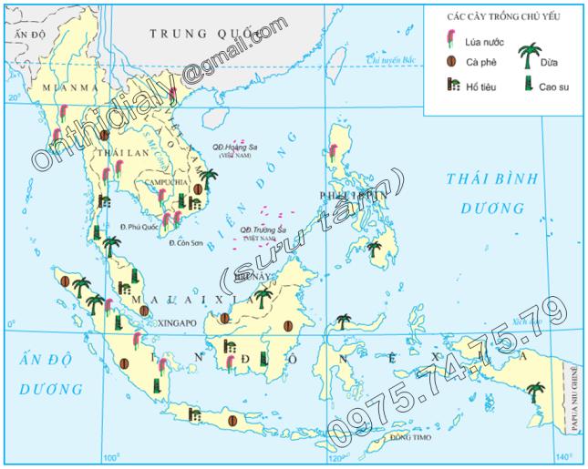 Hinh 11.6. Phân bố một số cây trồng chủ yếu của Đông Nam Á