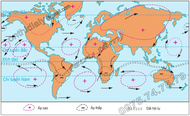 Hinh 12.3. Các khu áp cao, áp thấp trong tháng 1