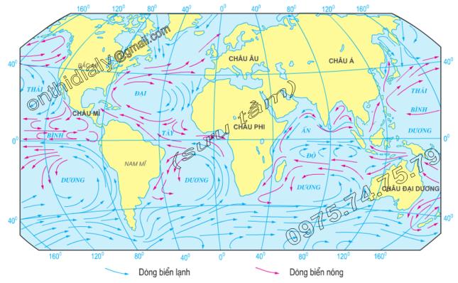 Hinh 16.4. Các dòng biển trên thế giới