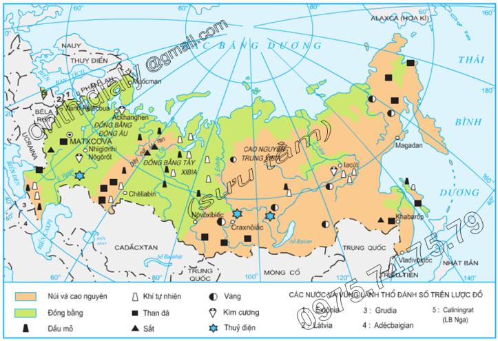 Hinh 8.1. Địa hình và khoáng sản Liên Bang Nga
