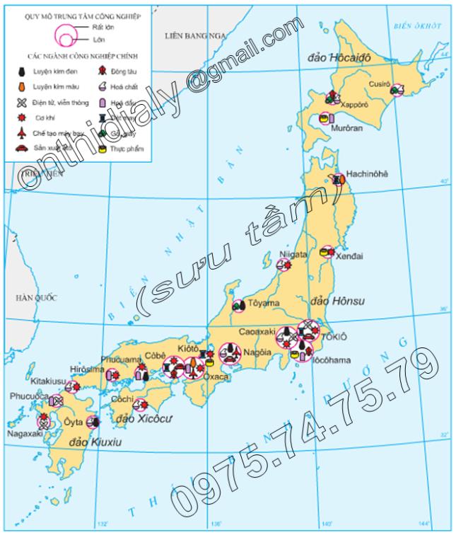 Hinh 9.5. Các trung tâm công nghiệp Nhật Bản