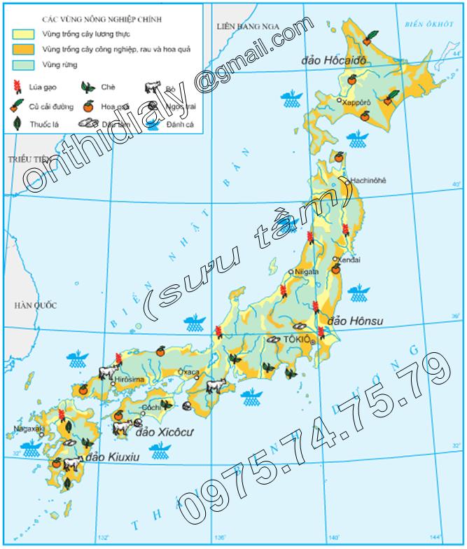 Hinh 9.7. Phân bố sản xuất nông nghiệp của Nhật Bản