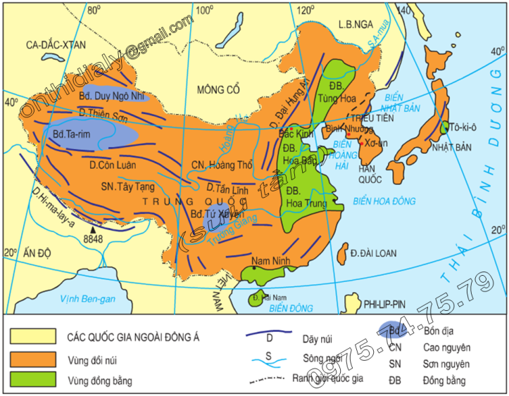 Hinh 12.1. Lược đồ tự nhiên khu vực Đông Á