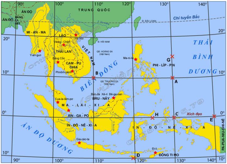 Hinh 12. Bản đồ thủ đô các nước ở khu vực Đông Nam Á