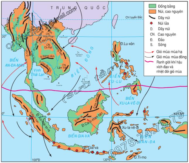 Hinh 14.1. Lược đồ địa hình và hướng gió ở Đông Nam Á