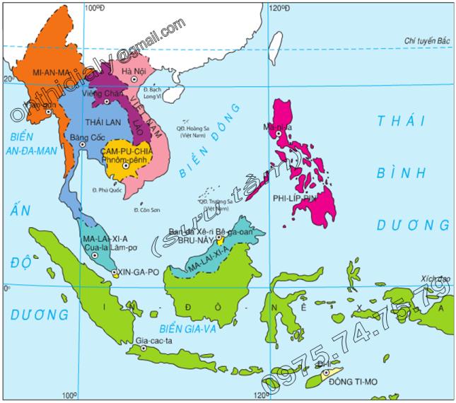 Hinh 15.1. Lược đồ các nước Đông Nam Á
