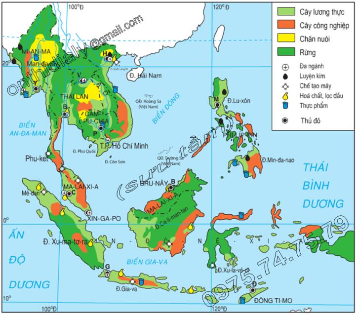 Hinh 16.1. Lược đồ phân bố nông nghiệp-công nghiệp của Đông Nam Á