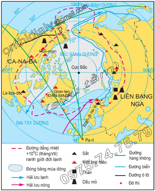 Hinh 21.1. Lược đồ môi trường đới lạnh ở vùng Bắc Cực