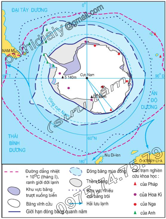 Hinh 21.2. Lược đồ môi trường đới lạnh ở vùng Nam Cực