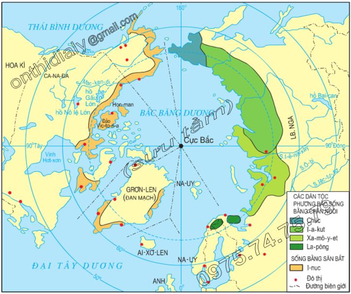 Hinh 22.1. Lược đồ địa bàn cư trú của các dân tộc ở môi trường đới lạnh phương Bắc