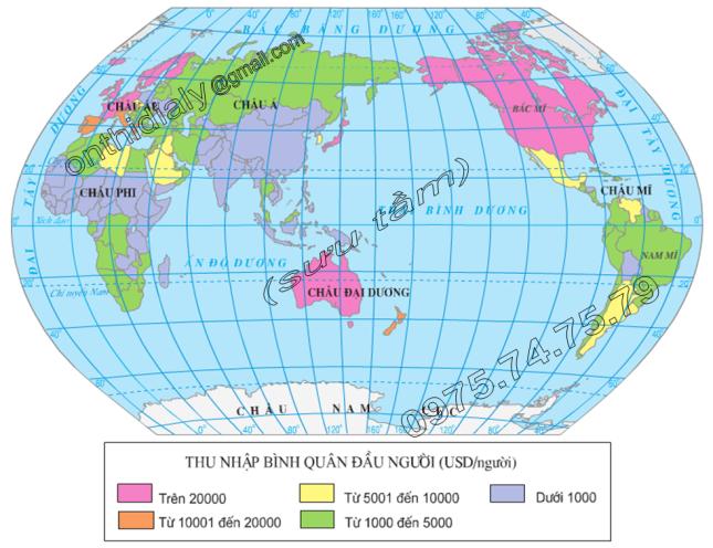 Hinh 25.1. Lược đồ thu nhập bình quân đầu người của các quốc gia trên thế giới (năm 2000)