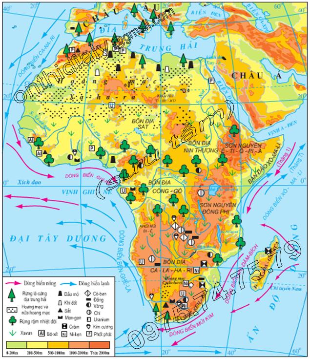 Hinh 26.1. Lược đồ tự nhiên châu Phi
